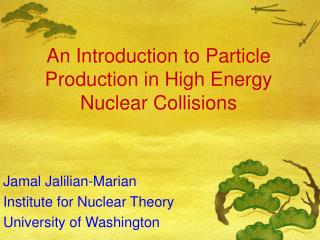 An Introduction to Particle Production in High Energy Nuclear Collisions