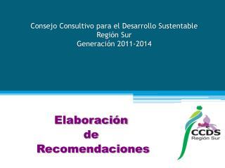 Consejo Consultivo para el Desarrollo Sustentable Región Sur Generación 2011-2014