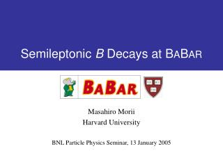 Semileptonic  B  Decays at B A B AR