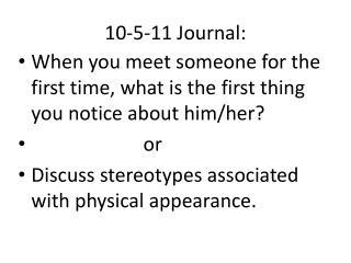 10-5-11 Journal: