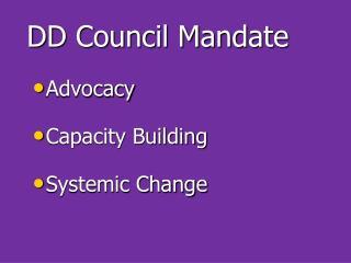 DD  Council Mandate