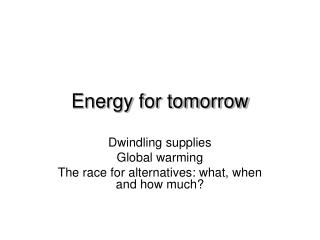 Energy for tomorrow