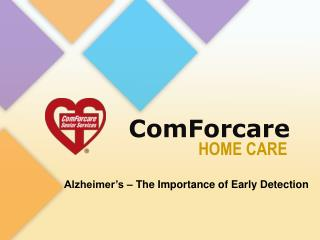Early Detection of Alzheimer's