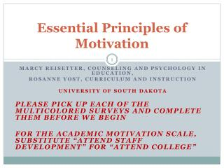 Essential Principles of Motivation