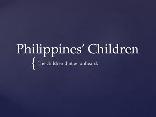 Philippines' Children