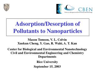 Adsorption/Desorption of Pollutants to Nanoparticles