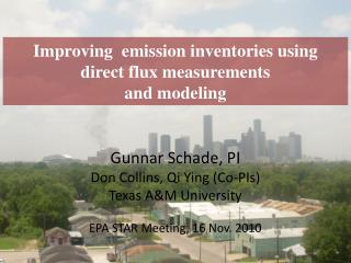 Improving  emission inventories using  direct flux measurements  and modeling