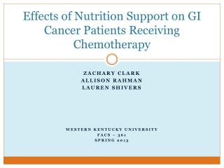 Effects of Nutrition Support on GI Cancer Patients Receiving Chemotherapy