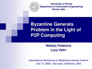 Byzantine Generals Problem in the Light of P2P Computing