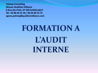 FORMATION A  L'AUDIT INTERNE