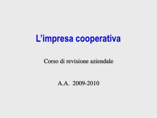 L'impresa cooperativa