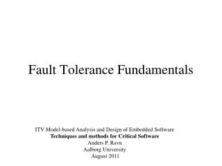 Fault Tolerance Fundamentals