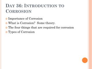 Day 36: Introduction to Corrosion