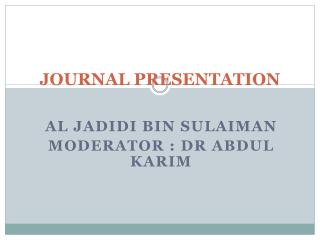 JOURNAL PRESENTATION