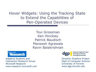 Hover Widgets: Using the Tracking State to Extend the Capabilities of  Pen-Operated Devices