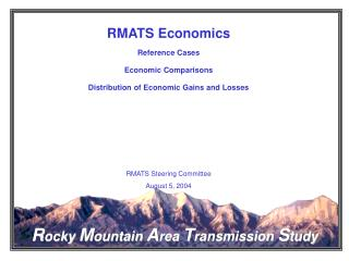 RMATS Economics Reference Cases Economic Comparisons Distribution of Economic Gains and Losses