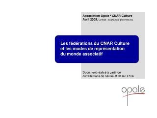 Les fédérations du CNAR Culture et les modes de représentation  du monde associatif
