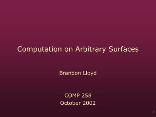 Computation on Arbitrary Surfaces
