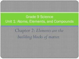 Chapter 2: Elements	 a r e the b uilding b lo c ks	 o f	 m a tte r .