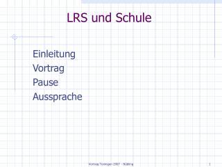 LRS und Schule