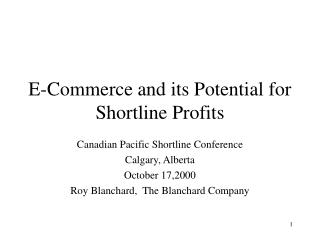 E-Commerce and its Potential for Shortline Profits