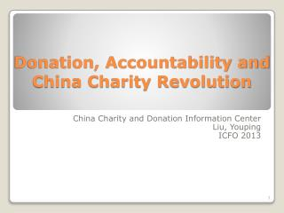 Donation, Accountability and China Charity Revolution