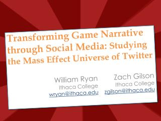 Transforming Game Narrative through Social Media:  Studying the Mass Effect Universe of Twitter