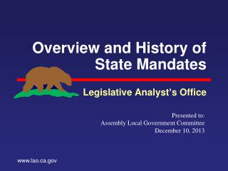 Overview and History of State Mandates