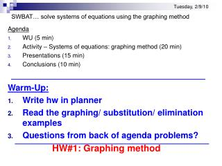 Tuesday, 2/9/10 SWBAT… solve systems of equations using the graphing method