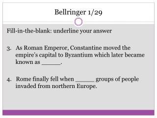Bellringer  1/29