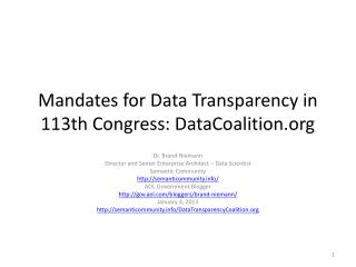 Mandates for Data Transparency in 113th Congress: DataCoalition