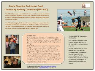 Public Education Enrichment Fund  Community Advisory Committee (PEEF CAC)