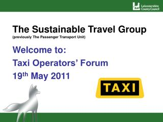 The Sustainable Travel Group (previously The Passenger Transport Unit)