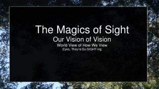 The Magics of Sight Our Vision of Vision World View of How We View Eyes, They're Ex-SIGHT-ing
