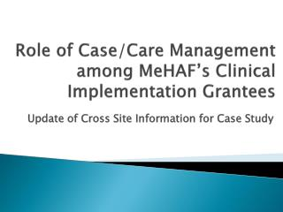 Role of Case/Care Management among MeHAF's Clinical Implementation Grantees