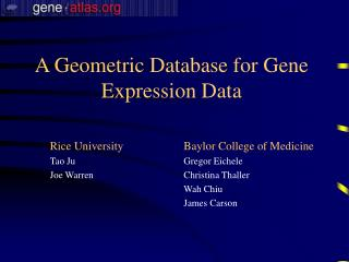 A Geometric Database for Gene Expression Data