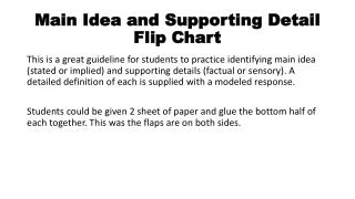 Main Idea and Supporting Detail Flip Chart
