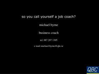 so you call yourself a job coach?