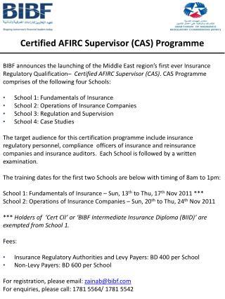 Certified AFIRC Supervisor (CAS) Programme