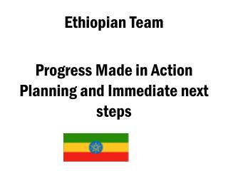 Ethiopian Team  Progress Made in Action Planning and Immediate next steps