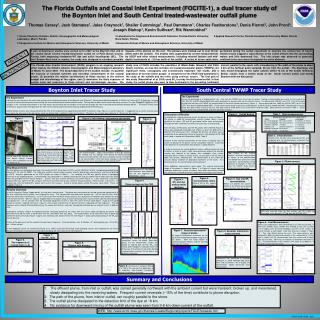 The Florida Outfalls and Coastal Inlet Experiment FOCITE-1, a dual tracer study of the Boynton Inlet and South Central t