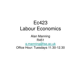 Ec423 Labour Economics