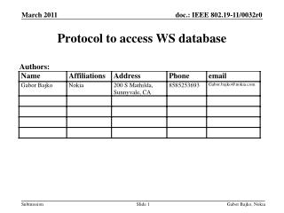 Protocol to access WS database