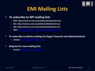 EMI Mailing Lists