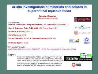 In-situ  investigations of materials and solutes in supercritical aqueous fluids