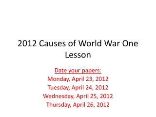 2012 Causes of World War One Lesson
