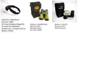 Model No. MG81001-B Barcode: 10487 LED Loop Headband Magnifier (4 Lenses Are Attached)