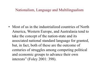 Nationalism, Language and Multilingualism