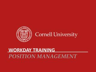 Workday Training Position Management