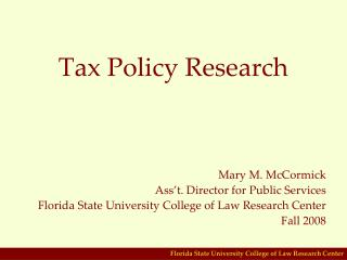 Tax Policy Research